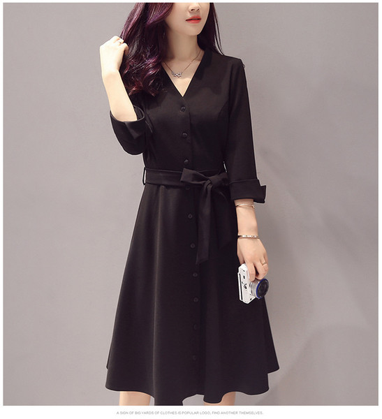 2019 neue dünne Art und Weise beiläufige Einfache Vintage und großzügiges Herbstkleid, Rock schwarz lang V-Ausschnitt A-line Damen