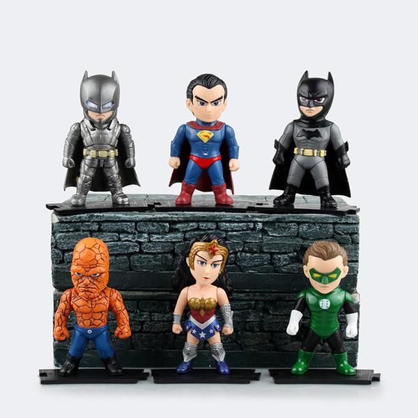 Hot 6pcs/lot 9.5cm pvc anime figure Justice League super man/batman action figure model toys brinquedos