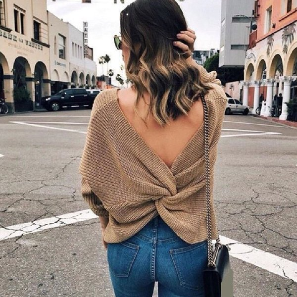 Womens V-neck Backless Sweaters Reversible Long Sleeve Cross Tie Knot Sexy Knitted Tops Short Knitting Pullovers Jumpers