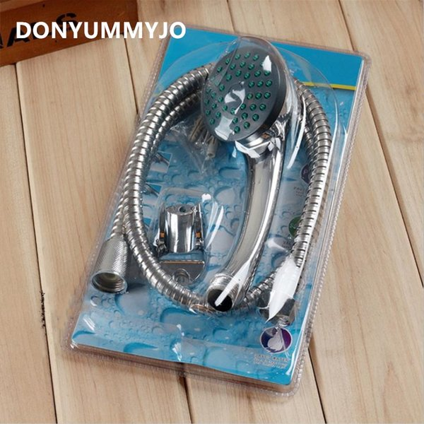 DONYUMMYJO ABS Chrome Finished Shower Head Set Bathroom Round Hand Held Nozzle Sprinkler With Hose And Stent