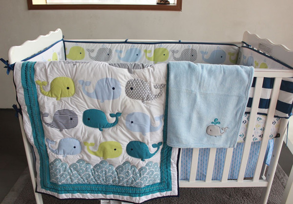 Hot selling Baby bedding set Embroidery 3D ocean whale Baby Crib bedding set 100% cotton bedskirt quilt bumper crib bedding set