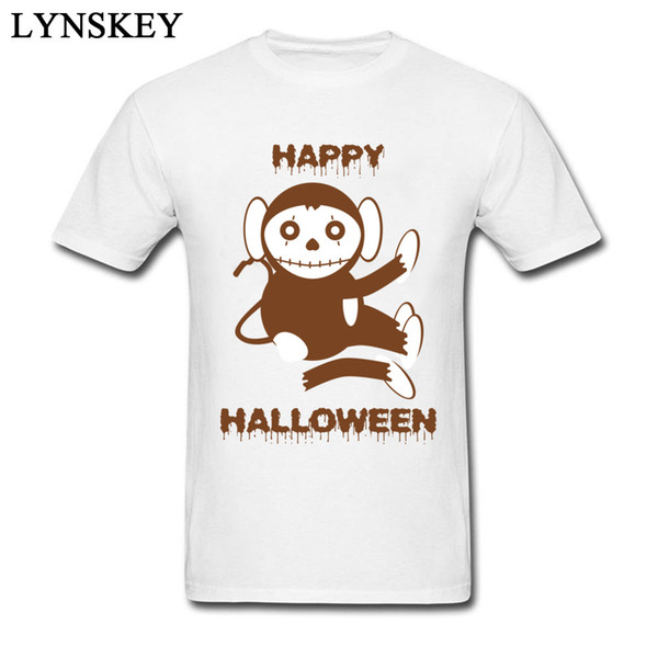 New Design Dead Monkey Happy Halloween Short Sleeve Top T-shirts Summer Round Neck Cotton Tops Tees for Students Tee-Shirt Crazy
