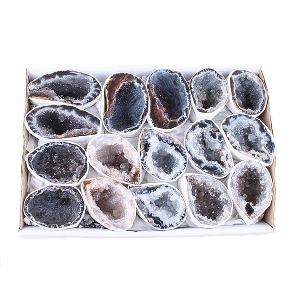 DingSheng 1pcs Natural Agate Geode Slice Drusy Druse Quartz Crystal Raw Rock Agate Cluster Minerals Specimen Home Decoration Christmas Gift