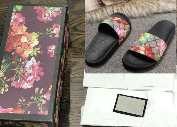 Top hommes femmes sandales avec boîte à fleurs correct sac à poussière designer chaussures imprimé serpent luxe diapo mode d'été large sandales plates