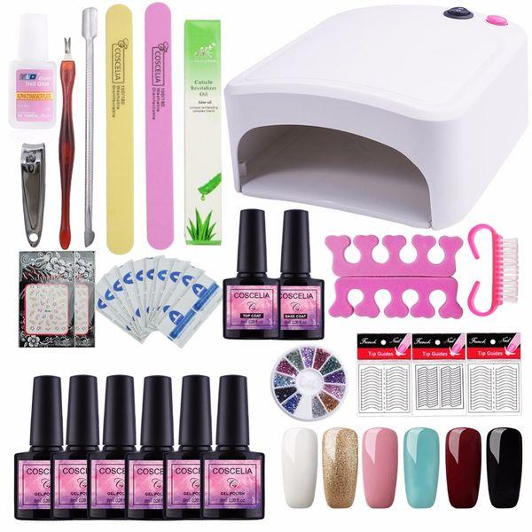 Gel Nail Polish Kit Manicure Set 6pcs 8ml UV Gel Nail Set 36W UV Lamp For Art Dryer Machine Manicure Tools DIY Design