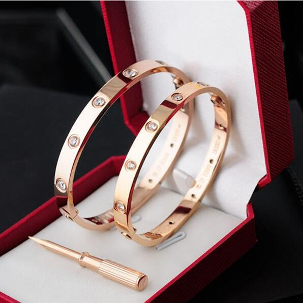 AAA quality rose gold 316L stainless steel Diamonds screw bangle bracelet with screwdriver and original box screws never lose Bangle jewelry