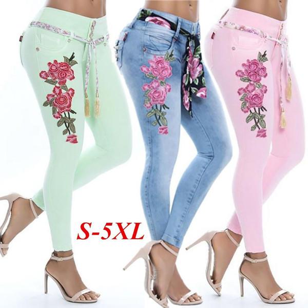 Mode-Stickerei-Blumen-elastische dünne Jeans-Frauen-lange Bleistift-Hosen-Hose 2018