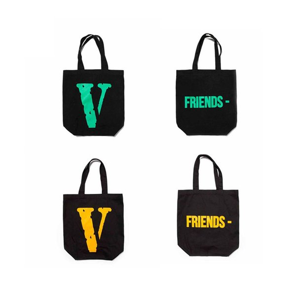 Fashion Bag VLONELIFE Japan POP Guerrilla Shop FRIENDS Matrix Text Large V Canvas Shopping Tote Bag Man And Woman High Quality Bag HFBYBB078