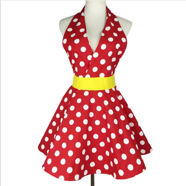 2 colours New Sexy Retro Polka Dot Bib 100% Cotton kitchen Cooking Aprons For Woman Waitress Gift