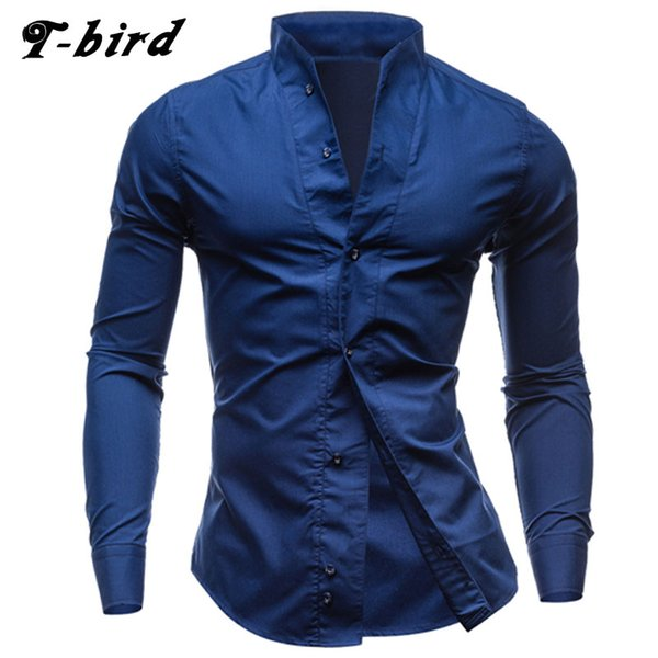 T-Bird Men Shirt Long Sleeve 2017 Brand Shirts Men Casual Male Slim Fit Collar Solid Chemise Mens Camisas Dress Shirts XXL
