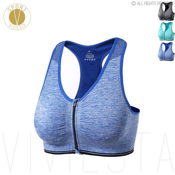 Ön-Yakın Spor Sutyen - Aktif Şık Yoga Gym Eğitim Koşu Jogging Kablosuz Ön Fermuar Bra Top Spor Giyim
