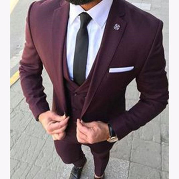 New Arrival One Button Burgundy Groom Tuxedos Notch Lapel Groomsmen Mens Wedding Business Prom Suits (Jacket+Pants+Vest+Tie) 169