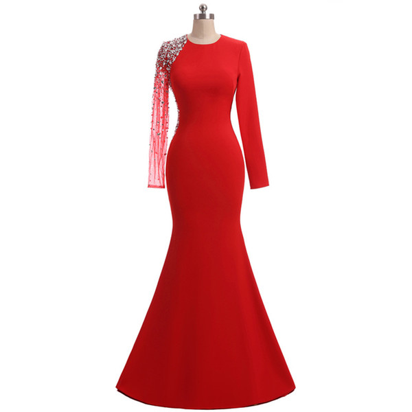 2018 New Cheap Red Long Sleeves Chiffon Evening Dresses Beaded Crystals Formal Prom Party Celebrity Gowns QC1137