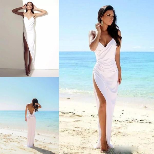 Compre Vestidos De Boda De Playa Sexy 2018 Correas De Espaguetis Laterales Divididos Vestidos De Novia Gasa Blanca Sin Respaldo De Verano Vestidos De