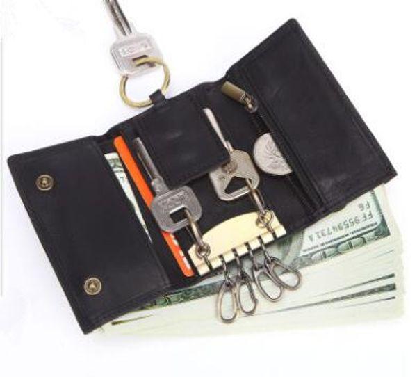 Commercio all'ingrosso nuovo Crazy Horse Leather Men Vintage Key Wallet multi-funzionale portachiavi in vera pelle portachiavi portamonete