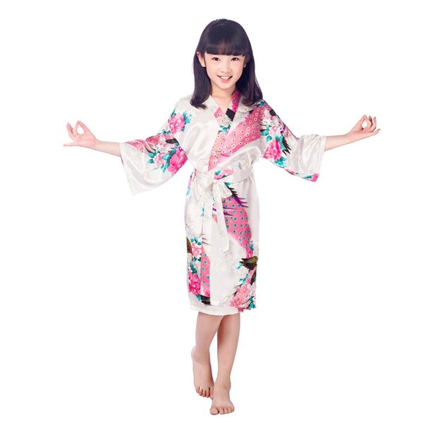New Women Nightwear Kid Silk floral Robe Kimono Robes Bridesmaid Flower  Girl Dress Bathrobe Sleepwear Baby Clothes Dressing F50 5cc67913a