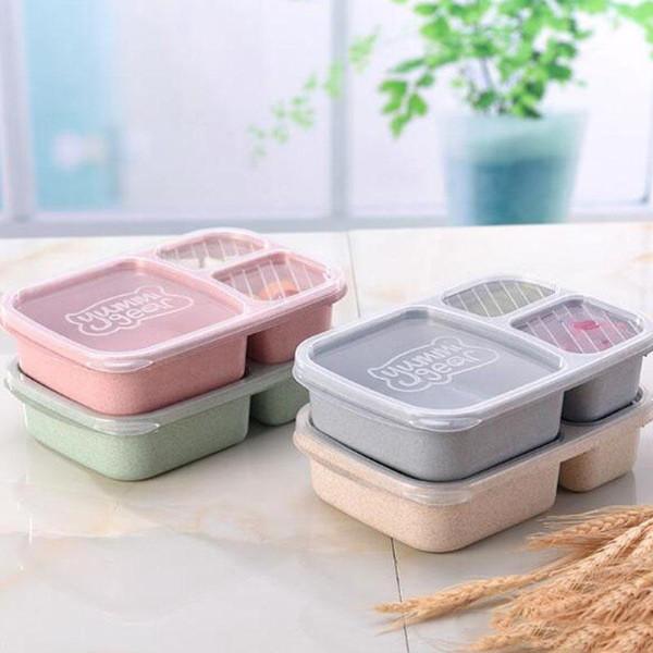 3 rejillas de almuerzo con rejilla Caja de almacenamiento de frutas de la comida para microondas Sacar los juegos de vajilla de contenedor