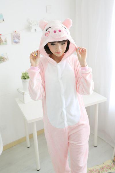 New Unisex Adult Flannel Pajamas Animal Pyjama Suits Cosplay Adult Winter Garment Cute Cartoon Animal Pajama Pink pig