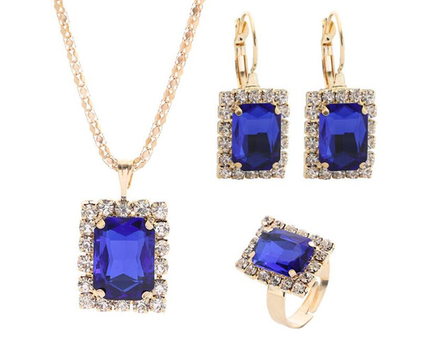 2019 Hot sales Bridal Jewelry Set fashion Square Shape Luxurious crystal gemstone Earrings Ring Pendant Necklace 7 color selection