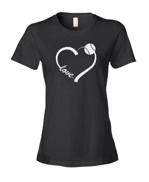 High Quality T Shirt Short Love Heart Baseballer Softballer Crew Neck Summer Tee Shirt For Women