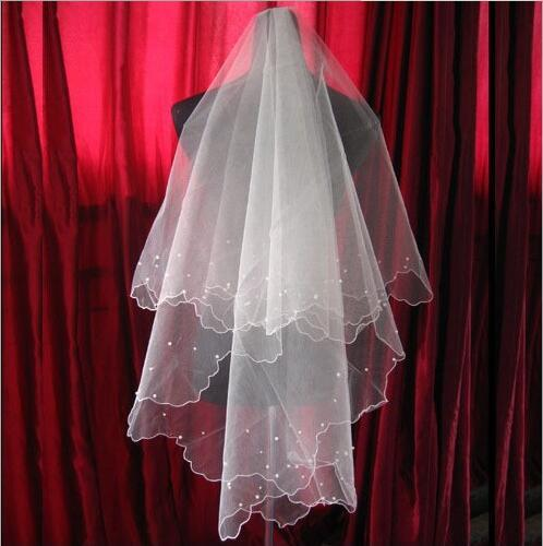 Two Layers Tulle Short Bridal Veils With Pearls 2019 Hot Sale Cheap Wedding Bridal Accessory For wedding Dresses Cheap Wedding Net