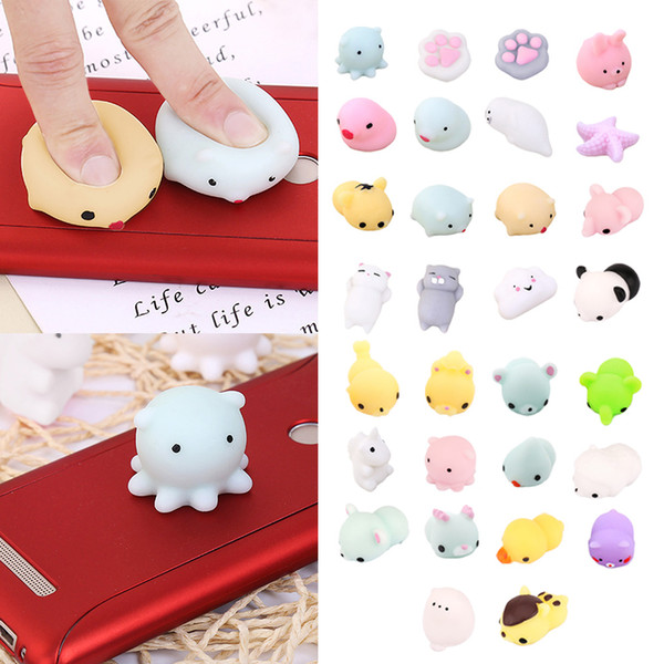 top popular Kawaii Animals Mochi Squishy Stress Toy Relief Animal Squishies Mini Hand Squeeze Squishes Decompression Toy 2019