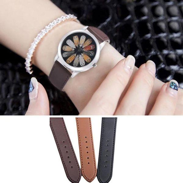 Fashion luxury Unisex Women Men Boys Girls Owl Feather Quartz Round Dial School Students Wrist Watch Couple Accessory