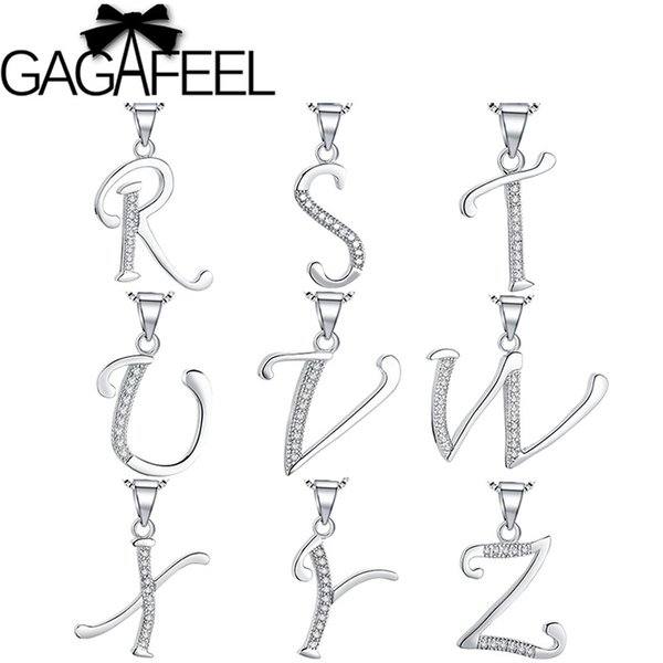 GAGAFEEL Romantic Genuine 925 Sterling Silver Alphabet Pendants for Women Lady Kids Sparking Letter T-Z Pendant Necklaces Gift