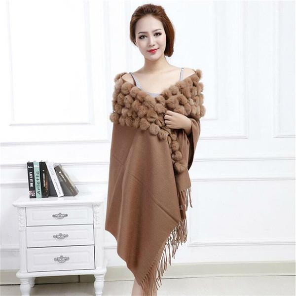 MEEFUR Classic Womens Wool Shawls with Rabbit Fur Balls & Tassels Decoration Fashion Lady Solid Scarf Wool Poncho LX00019 Y18102010