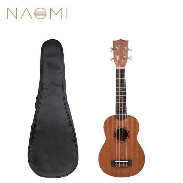 best selling NAOMI 21'' Ukelele Soprano Sapele Hawaii Guitar Mahogany 12 Fret Uke Kit W Gig Bag New