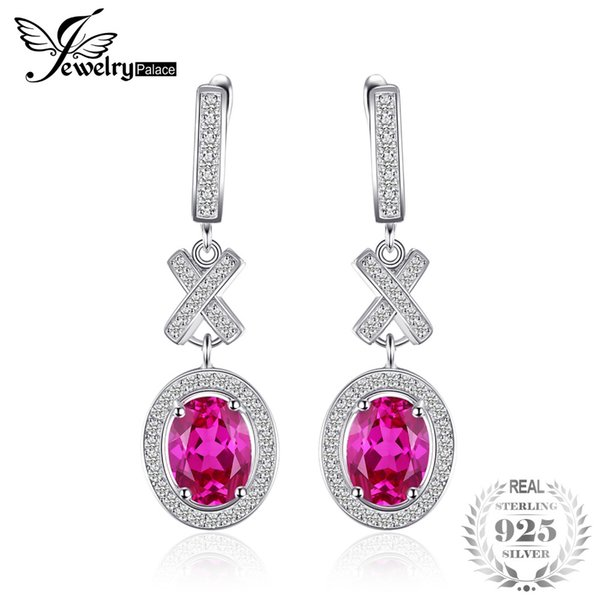 JewelryPalace Classic 3.5ct Oval Created Sapphire Halo Drop Dangle Earrings Charm 925 Sterling Silver Fashion Women Jewelry