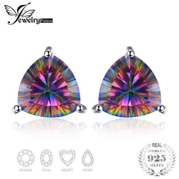 JewelPalace Classic Rainbow Fire Mystic Topaz Genuine 925 orecchini in argento sterling per le donne Fine Jewelry Moda Vintage