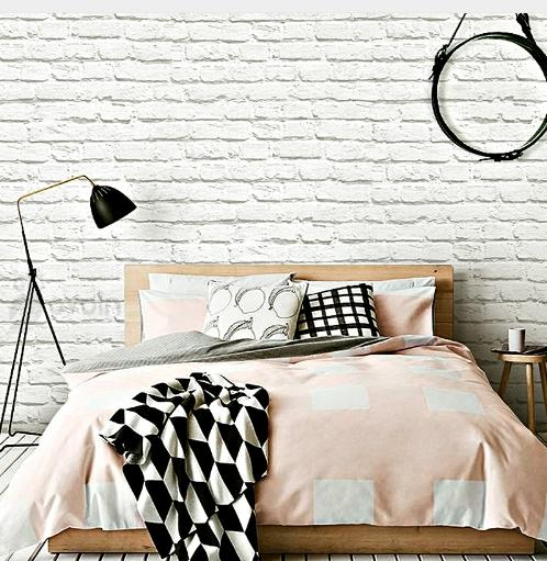 White Modern Brick Wallpaper Wall Paper Covering Rolls For Shop Room 0.53 x 10m(32.8ft*1.738ft)