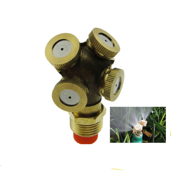 DN15 1/2 In. 4 Micro Heads Brass Agricultural Mist Spray Nozzle Sprinkler Garden Watering Roof Cooling Lawn Irrigation System