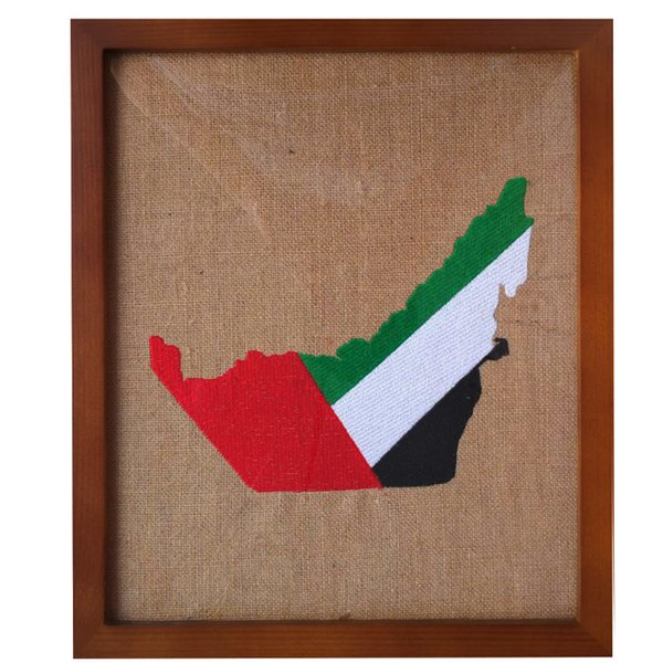 Ahşap sanat Boya Emirlikleri BAE bayrağı Harita nakış eid adha çerçeve Müslüman Duvar asılı ev Ofis aksesuarları