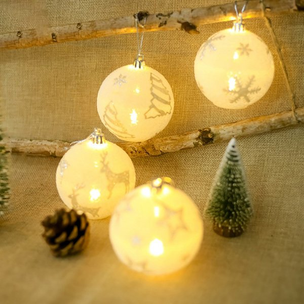 Outdoor Romantic LED Light Balls Snowflake Elk Star Printing Ornaments Christmas Tree Decoration Chrismas Party Decor