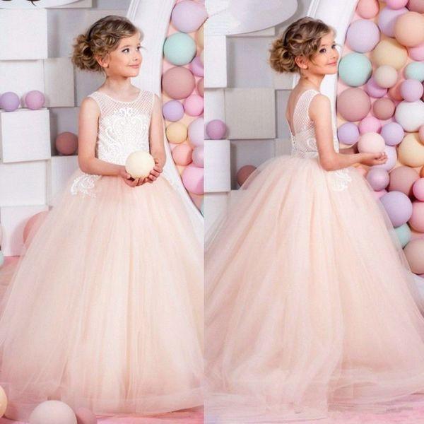 Pageant Kids Gown Champagne Tulle Cute TUTU Lolita Flower Girl Dresses For Wedding Girl's Floor Length Child Party Birthday Dress 17flgB461