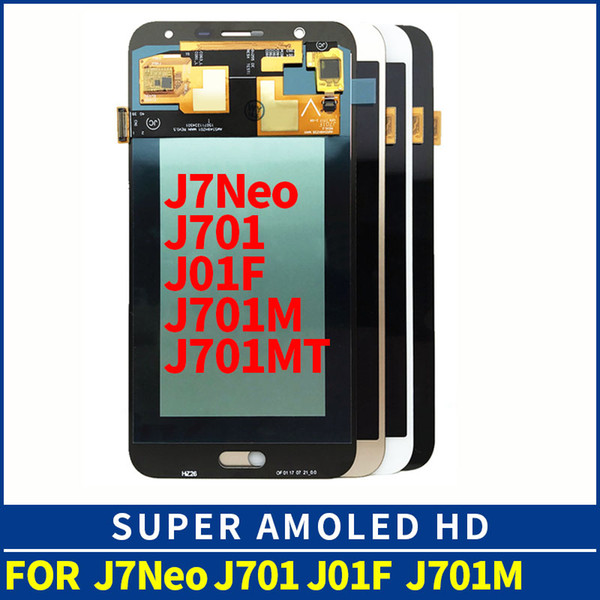 AMOLED LCDs Full Digitizer For Samsung Galaxy J7 neo J701 J701F J701M J701MT LCD Display Touch Screen Assembly Replacement