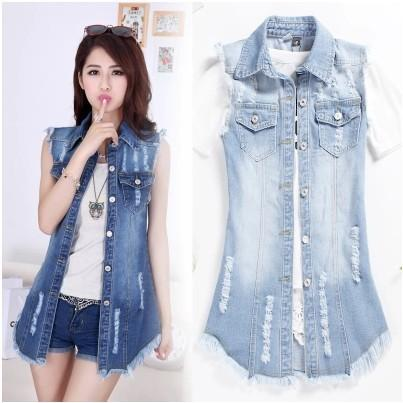 Summer Wear New Pattern Will Code Suit-dress Increase Obesity Younger Sister Suit-dress Korean Sleeveless Will Code Cowboy Vest fall