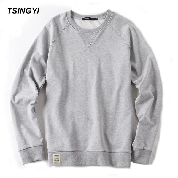 Großhandel-Tsingyi Herbst Pullover Solide Herren Hoodies O-Ausschnitt Langarm Größe M-3XL Blau Weiß Casual Sweat Homme Herren Hoodie Sweatshirt