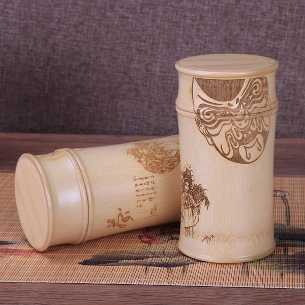 Botellas de almacenamiento de bambú para frascos de cocina Contenedor caso organizador Caja de especias recipiente de talla redonda decoración Caddy