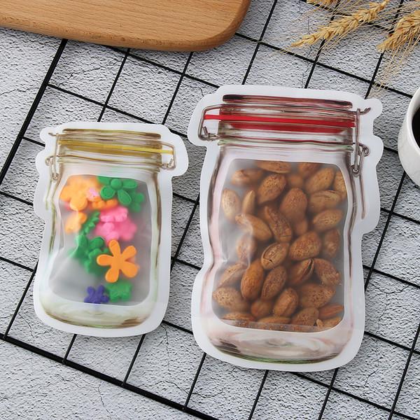 5 pçs / set Zipper Food Snack Stand Up Bag Zip Lock Zipper Bag Food Grade Sacos De Armazenamento De Plástico À Prova de Fadas Clipe frete grátis