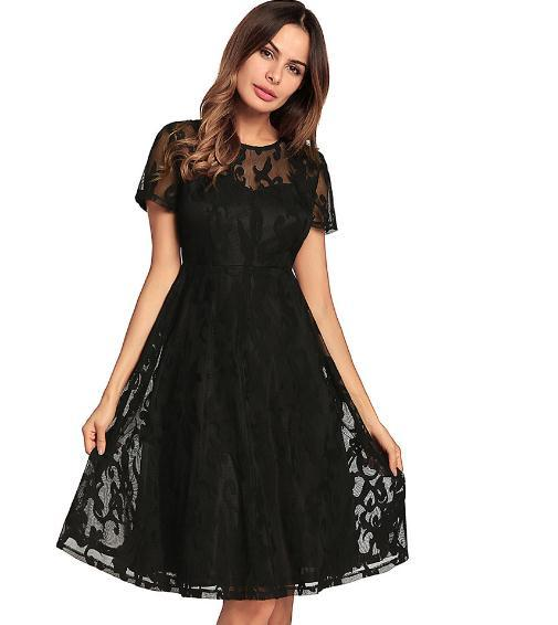 2018 New Hot Sell Women's Short Sleeve Lace Dresses Fit Flare Solid Empire O Neck Lace Sexy Dress