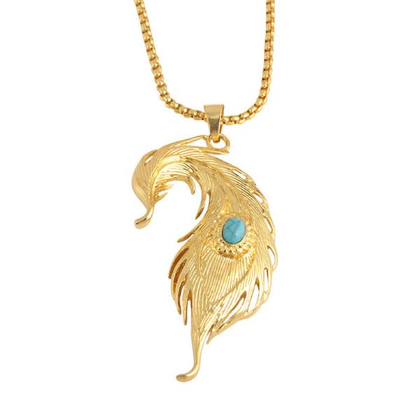 Punk Feather Collane creative turchesi lascia collana pendente maglione catena hiphop rock gioielli in oro per le donne uomini
