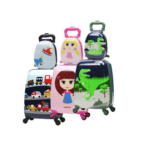 Милый мультфильм дети прокатки багажа комплект Spinner чемодан колеса студенты 18/20 дюймов нести на тележке малыш / девочка / мальчик дорожная сумка