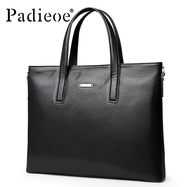 Padieoe 2017 Luxury Brand New Design Men's Portfolio Fashion Genuine Leather Men Briefcase 15 Inches Leather Laptop Bag for Male