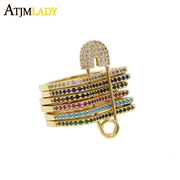 whole sale2018 new design unique gold color jewelry multi stack stacking band multi color colorful cz safety chain fashion women ring