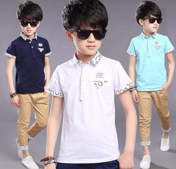 Hot Sales Big Kids Boys Summer T-shirt Cotton Leisure Short Sleeved Children Hot Fashion High-End Children's Shirt