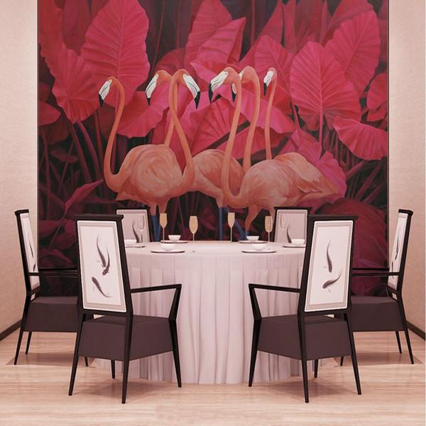Compre Custom Photo 3d Wall Murals Nature Red Tropical Plants Wallpaper Animal Flamingos Wallpaper Home Decor Kitchen 3d Wall Murals A 4107 Del