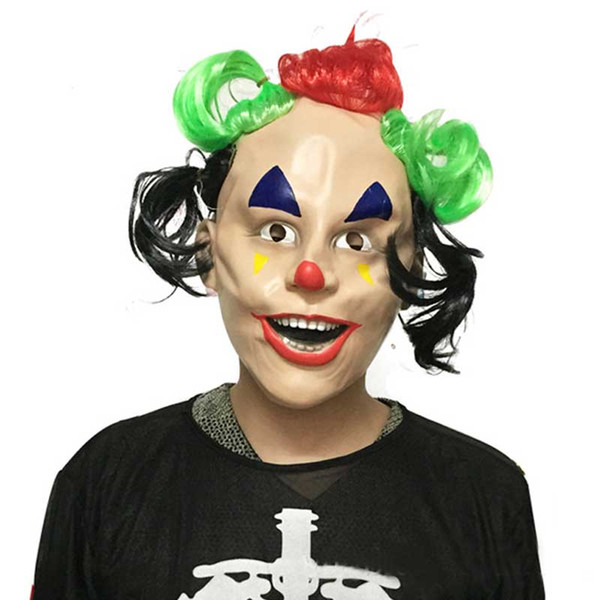 Colorful Hair Funny Latex Clown Adult Mask Christmas Halloween Costume Party Cosplay Joker Full Face Masquerade Carnival Masks